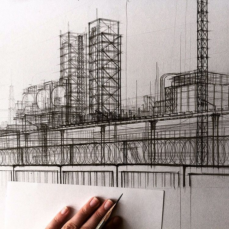 13-Factory-Sketch-Adelina-Gareeva-Detailed-Architectural-Recreations-and-Concept-Drawings-www-designstack-co