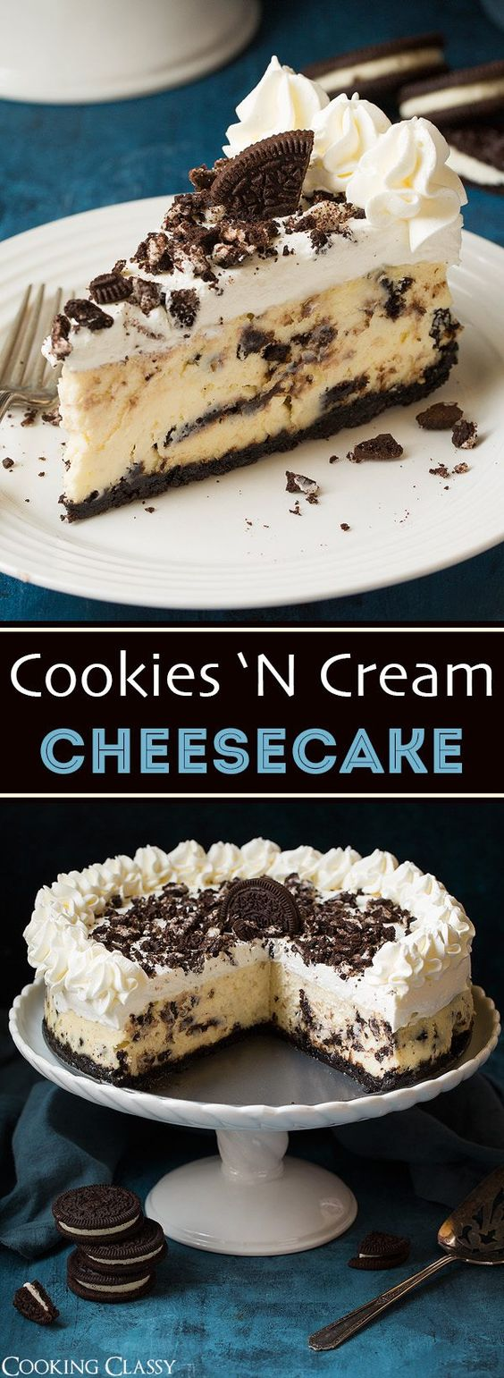A cheesecake that's likely to become one of your new favorite desserts! It's perfectly rich and creamy and it's brimming with plenty of chocolatey Oreo cookies. This ones a showstopper that's worthy of any celebration!