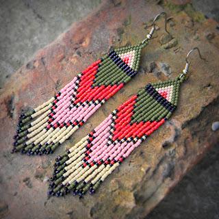 купить серьги из бисера в этно стиле цена фото этнические серьги из бисера