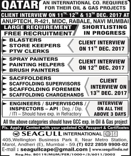 Cape Qatar Jobs Walk-in Interview In Anuptech Rabale Mumbai  | Seagull International Scaffolding Jobs
