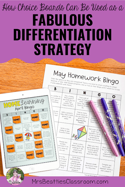 """Photo of homework bingo choice boards with text, """"How Simple Choice Boards Can Be Used as a Fabulous Differentiation Strategy."""""""