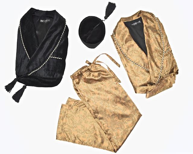 mens vintage smoking jacket silk dressing gown paisley pajamas smoking cap smoker hat velvet
