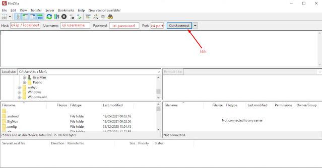 Halaman utama FileZilla Client