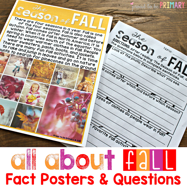 fall lesson plans - fact posters and questions