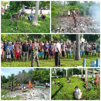 Ciptakan Kebersihan Pupuk Kebersamaan, Babinsa Koramil 01/Sumbawa Inisiasi Gotong Royong Bersama Warga Medang