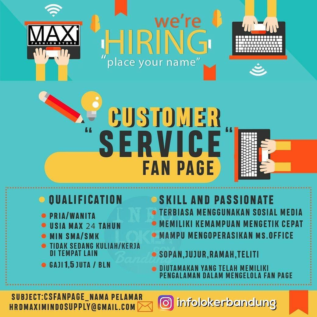 Lowongan Kerja Customer Serivce Fan Page Maximindo Supply Bandung November 2017