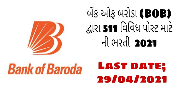 Bank of Baroda Recruitment 2021 for 511 Manager Posts, Apply Online for BOB Jobs @bankofbaroda.in