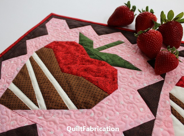 freezer paper template pieced/open seams strawberry