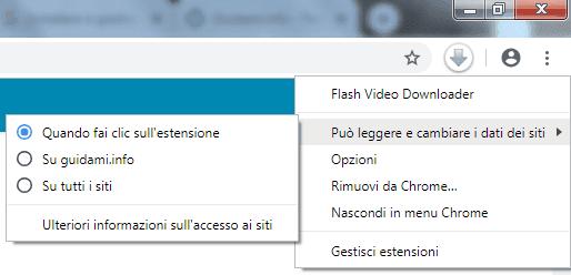 Chrome menu contestuale del pulsante estensione nella barra delle estensioni