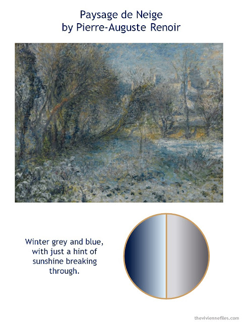 Paysage de Neige by Pierre-Auguste Renoir with style guidelines and color palette
