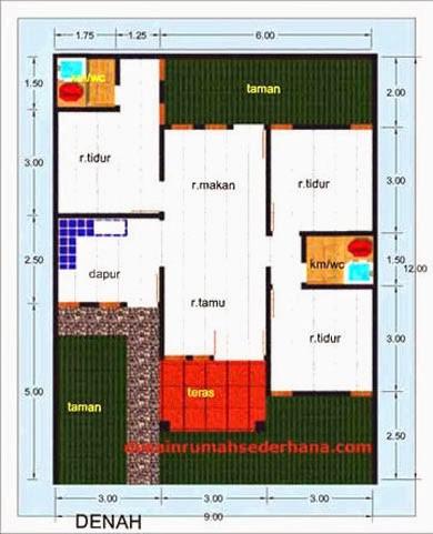 gambar denah rumah luas tanah 120 m2 1