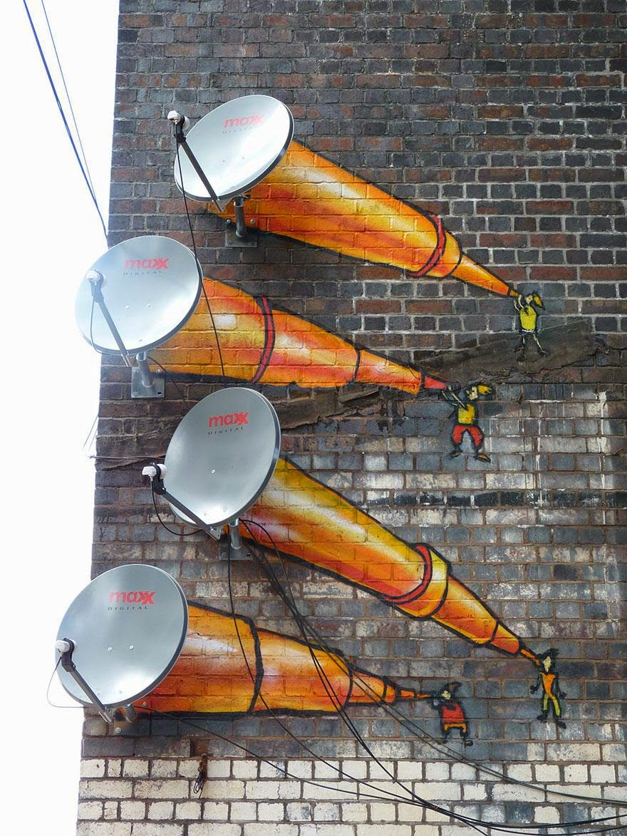28 Pieces Of Street Art That Cleverly Interact With Their Surroundings - Satellite Dishes, Birmingham, UK