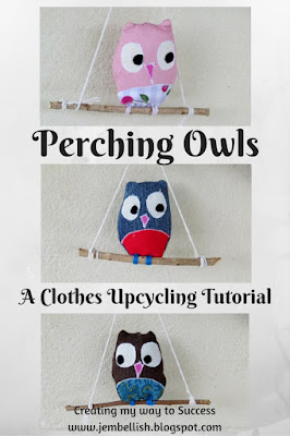 Perching Owls from upcycled clothes