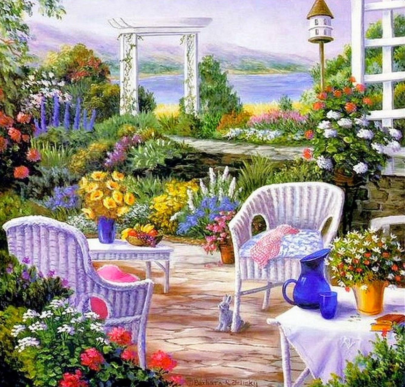 Im genes arte pinturas paisajes con jardines y flores - Oleos de jardines ...