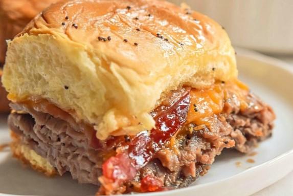 Bourbon Bacon Roast Beef Sliders