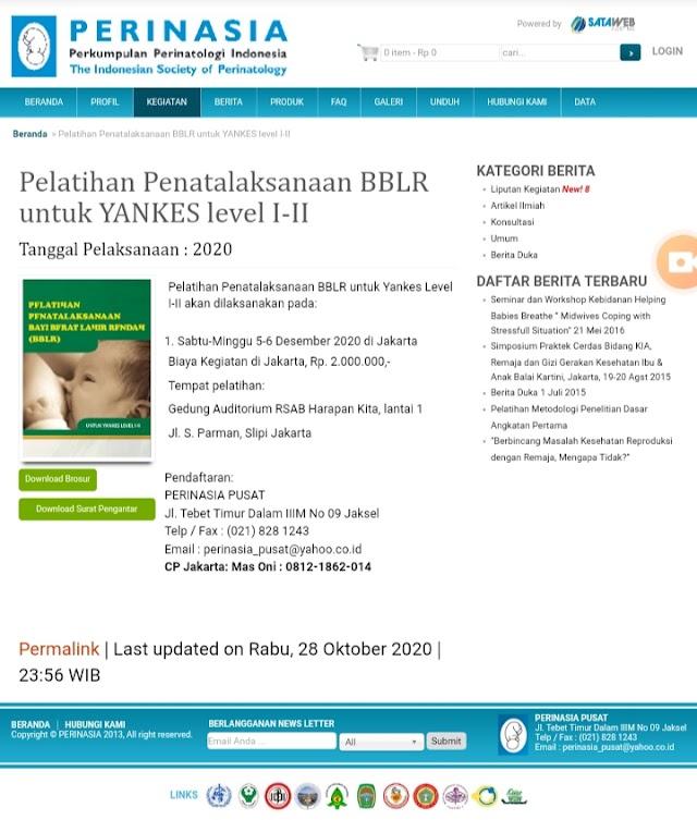 Pelatihan Penatalaksanaan BBLR untuk Yankes Level I-II  PERINASIA 2020