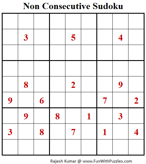 Non Consecutive Sudoku (Fun With Sudoku #192)
