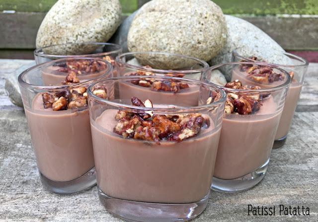 recette ce crémeux chocolat au lait, crémeux chocolat et noix de pécan caramélisées, verrines chocolat au lait, crémeux chocolat, dessert, patissi-patatta