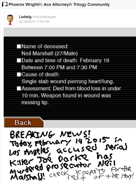 Phoenix Wright Ace Attorney Neil Marshall autopsy report killed February 19 2015 Joe Darke