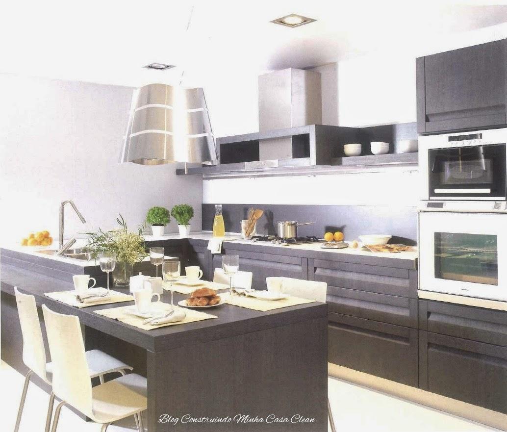 Construindo Minha Casa Clean Cozinhas Modernas Com Cinza