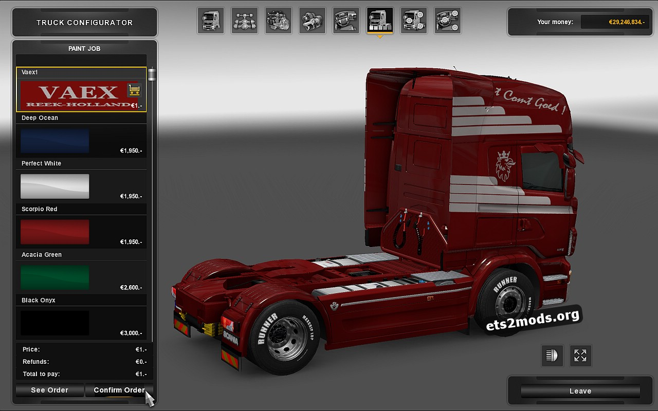 Red Vaex Skin for Scania RJL