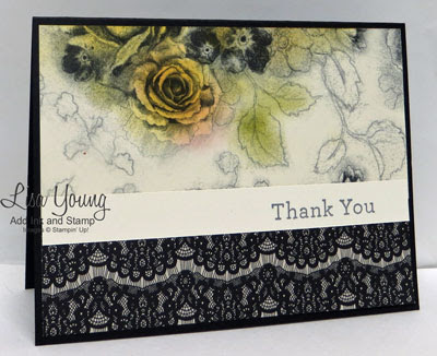 Stampin' Up! Timeless Elegance paper. Yellow Roses and lace. Handmade card by Lisa Young, Add Ink and Stamp