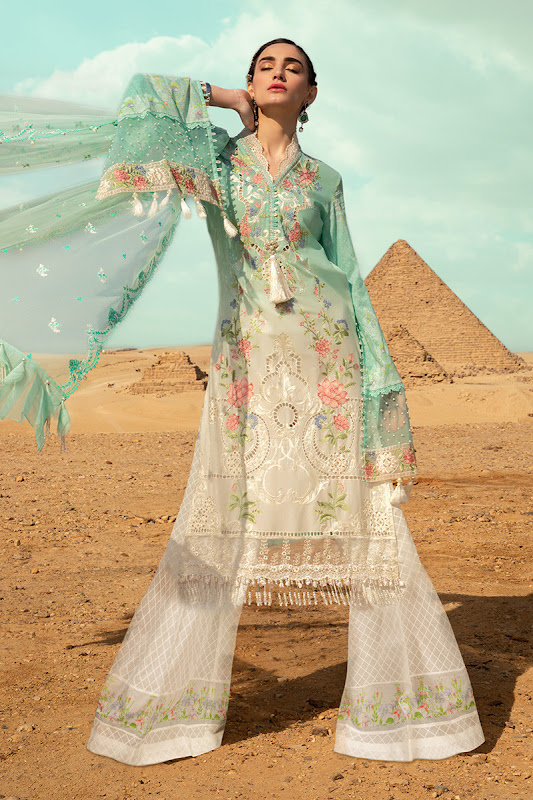 Maria B lawn summer suit white and green color suit