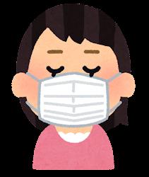 マスクを付けた人の表情のイラスト(女性・考えている顔)
