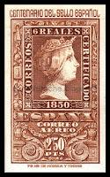 Filatelia - Centenario del Sello español (1950) - Valor de 2,50 pesetas - Correo aéreo