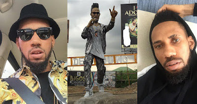 Phyno shows off statue of himself erected in Port Harcourt