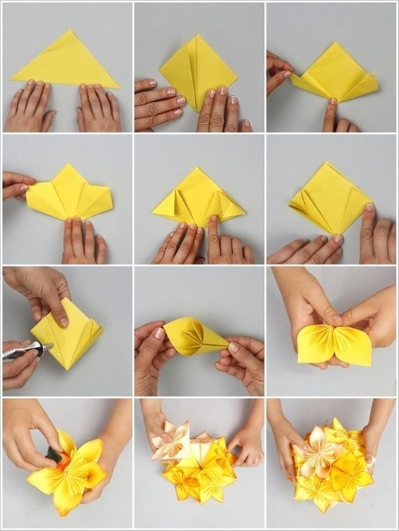 Fold or trace paper flowers