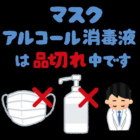 「マスク・アルコール消毒液は品切れ中です」のPOP素材(透過)