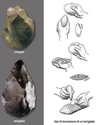 chopper amigdala storia dell'arte rupestre preistoria paleolitico