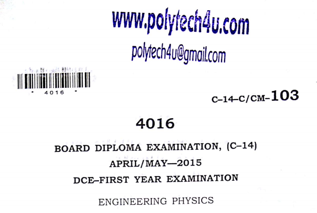 Sbtet Engineering Physics Previous Question Paper c14 April/May 2015