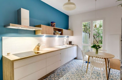 Nifty Scandinavian kitchen ideas with white tile kitchen backsplash