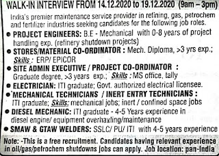 ITI/ Diploma And B.Tech Jobs Vacancy in Contract Resources Petrochem Services Pvt Ltd  Mangalore,  Karnataka