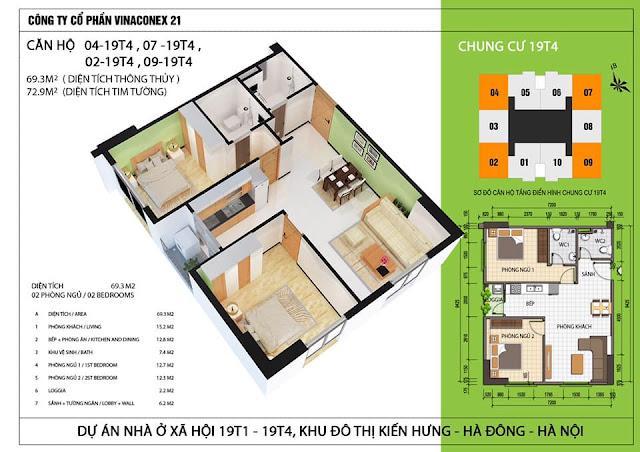 thiết kế chi tiết căn hộ 2 ngủ chung cư 19T4