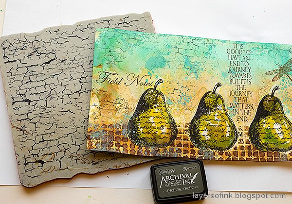 Layers of ink - Watercolor Pears Art Journal Page Tutorial by Anna-Karin Evaldsson. Stamp with Simon Says Stamp Crackle Background.