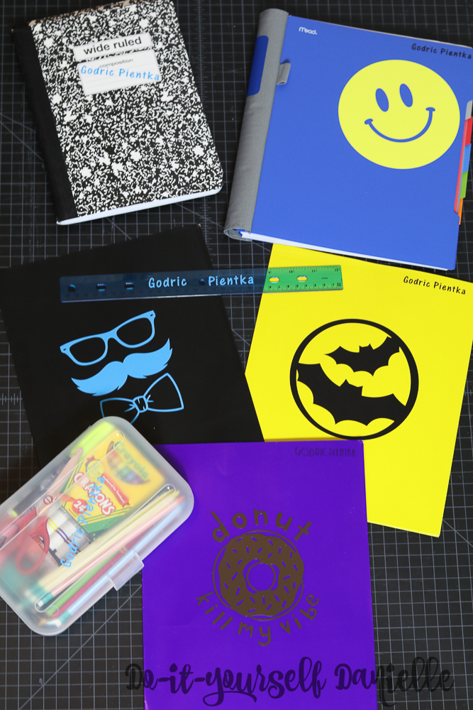 Customizing and labeling school supplies.
