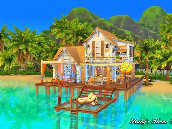Sims 4 Beach Hideout  熱帶島嶼小屋 [No CC]