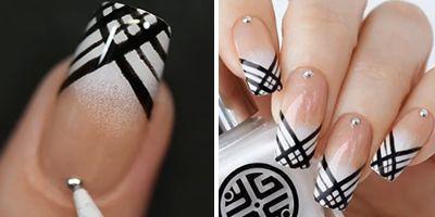 finalizando as unhas decoradas com esmalte preto e branco