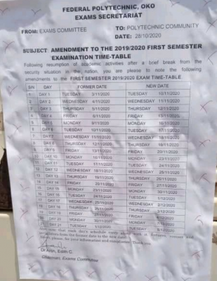 OKOPOLY Exam Timetable for 1st Semester 2019/2020 [UPDATED]