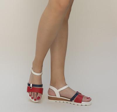 sandale casual de vara albe cu rosu lejere