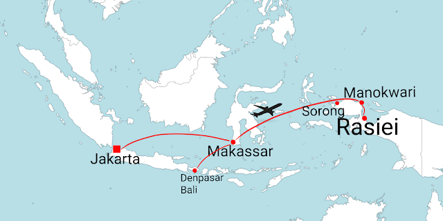 flight route to Manokwari from Jakarta