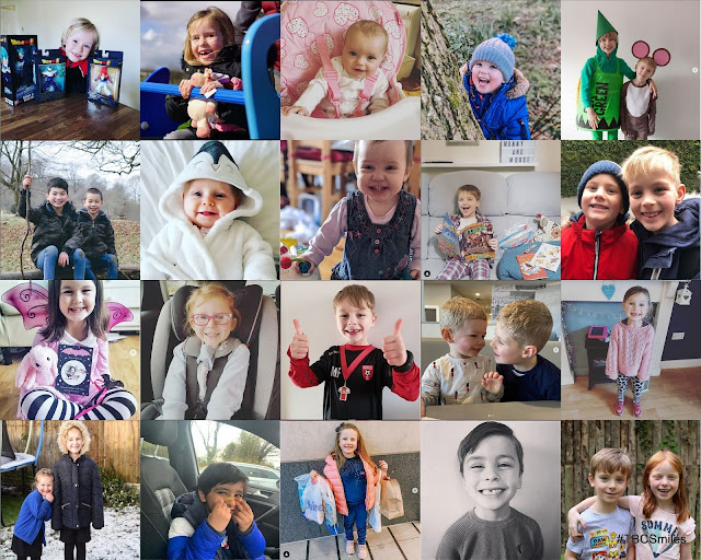 Collage of 20 photos of kids grinning and smiling