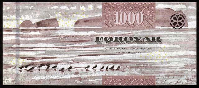 Faroese Banknotes 1000 Krone banknote 2011 Sandoy Island