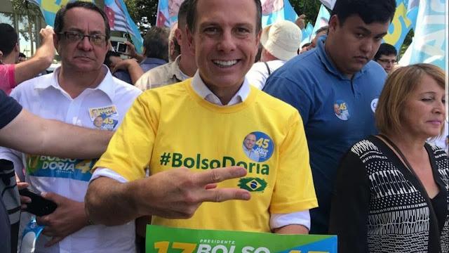 João Dória com slogan da campanha de 2018 #BolsoDoria