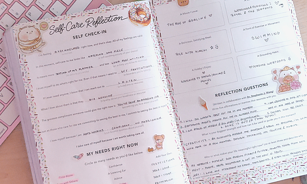 self-care reflection passion planner freebie free download insert for your planner