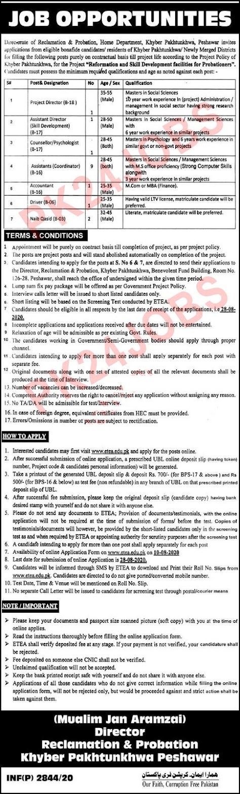 Home Department KPK Jobs 2020 for Project Director and Asst Director