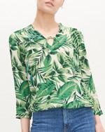 bluzka koszula w zielone liście palmy